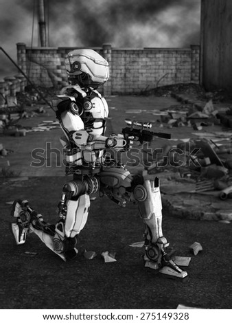 Black and white image of a futuristic robot holding gun, fighting a war in a ruined city.