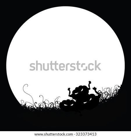 Black and white image of a pumpkin. Poster template for Halloween. Space for text. Halloween pumpkin on the background of the moon.