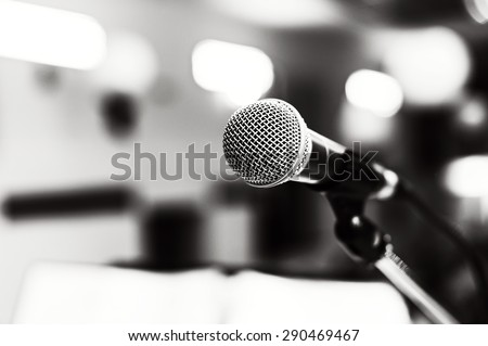 Black and white image of microphone
