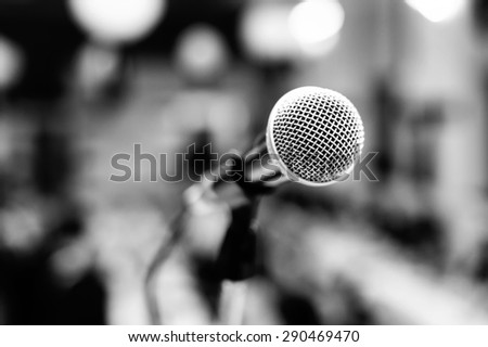 Black and white image of microphone - black and white - stock photo