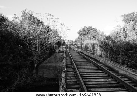 Black and white image of old railroad train track bridge that converges into the distance.