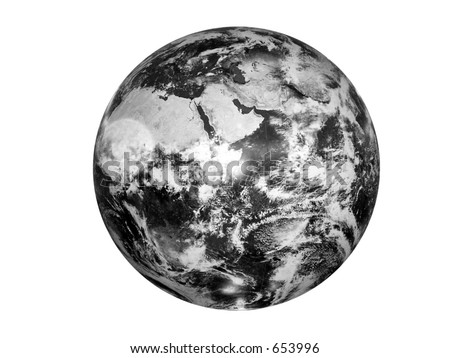 black and white image of the globe