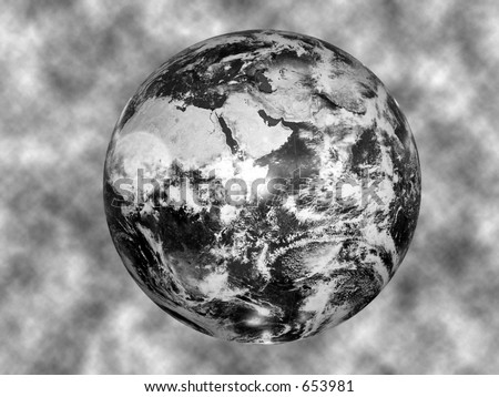 black and white image of the globe against a textured background - stock photo