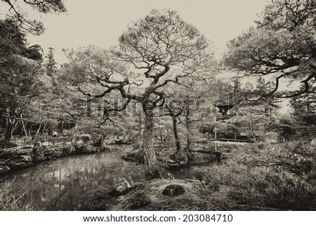 Black and white image of the Zen Garden of the Ginkakuji Temple (The Silver Pavilion) in Kyoto, Japan - stock photo