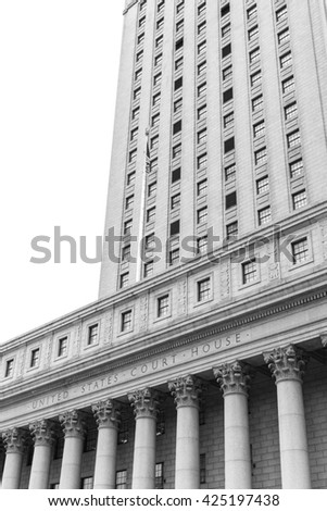 Black and white image of United States Court House. Courthouse facade with columns, lower Manhattan, New York - stock photo