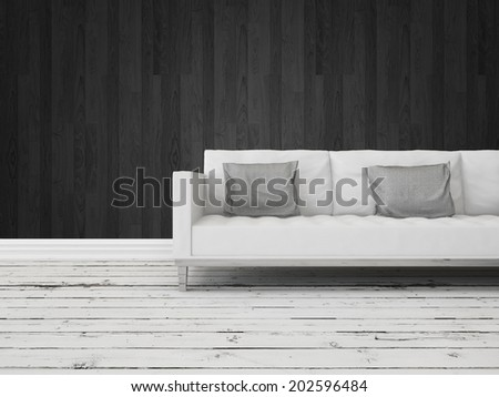 Black and white interior decor background with a generic modern white sofa against a dark wall with grungy rustic weathered wooden white painted floor boards - stock photo