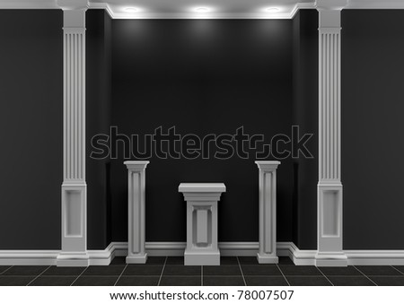 Black and white interior with classic elements and exposition pedestals - stock photo