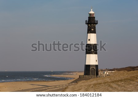 Black and White Iron lighthouse - stock photo