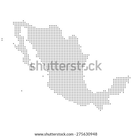 Black and white isolated dotted detailed Mexico map illustration - stock photo