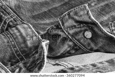 Black and white jeans texture background,close up view.