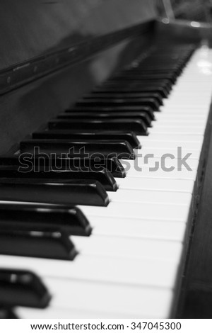 Black and white keys of a piano with a side. - stock photo