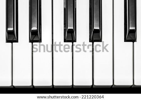 Black and white keys on music keyboard