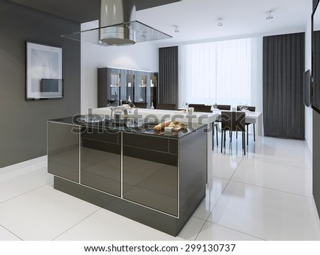 Black and white kitchen modern style. Color separated kitchen and dining room looks elegant from all sides. Glossy worktop on island, black curtains and white tulle. 3D render