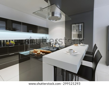 Black and white kitchen trend. 3D render