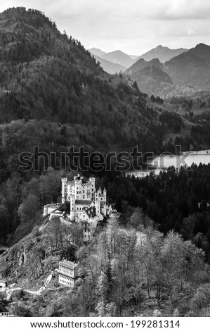 Black and White Landscape: Hohenschwangau castle in the Bavarian Alps - Tirol, Germany  - stock photo