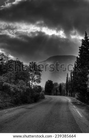 Black and white landscape in Crimea near Ayu-Dag mountain - stock photo