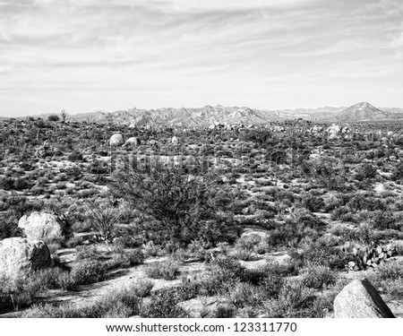 Black and white landscape of desert mountains - stock photo