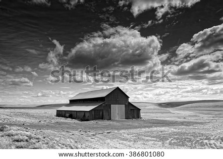 Black and white landscape of Palouse region in Washington State