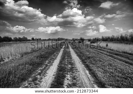black and white landscape with old countryside road - stock photo