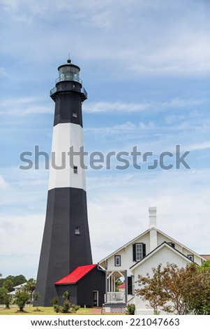 Black and White lighthouse on Tybee Island, Georgia