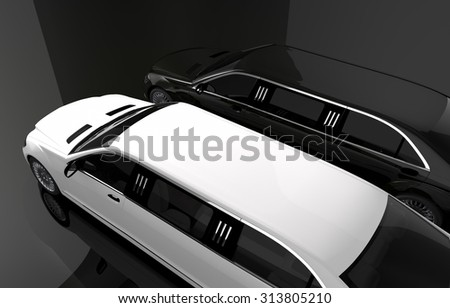 Black and White Limousine. Luxury Limos For Rent Concept Illustration. Two Limousines Top View. - stock photo
