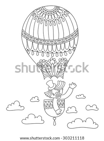 black and white line art illustration of circus theme - clown in a balloon,  you can use like coloring book for adults and other, raster version illustration - stock photo
