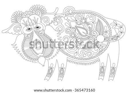 black and white line drawing in ukrainian karakoko style of decorative unusual fantastic wild boar, you can use for coloring book page for adults and other, raster version illustration - stock photo