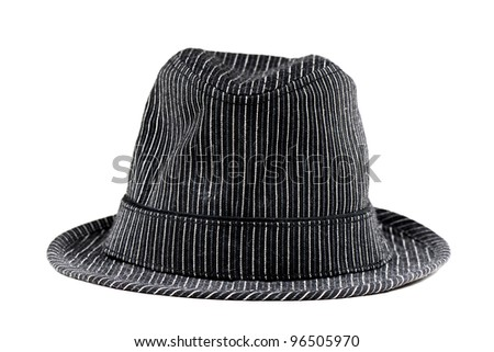 Black and White line pattern hat - stock photo
