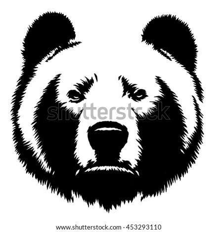 black and white linear draw bear illustration - stock photo