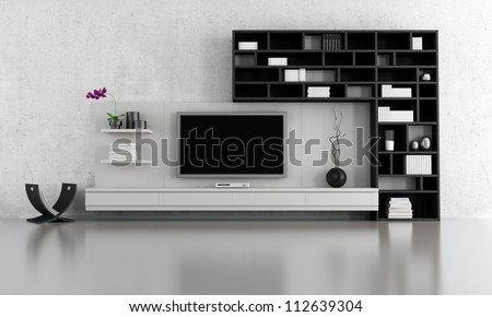 black and white  living room with tv stand and bookcase - rendering - stock photo