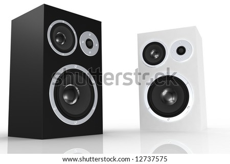 Black and white loudspeakers