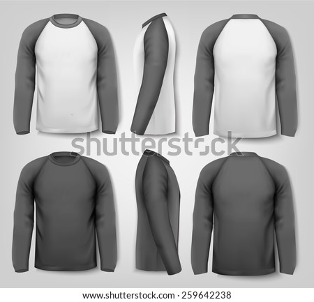 Black and white male long sleeved shirts with sample text. Design template. - stock photo