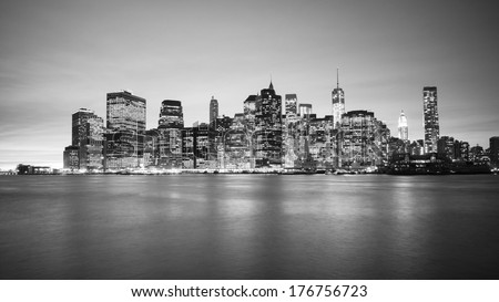 Black and white Manhattan Skyline