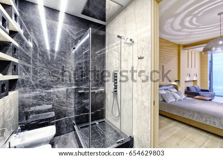 black and white marble in the interior of a modern bathroom in a luxury - Black Luxury Modern Bathroom
