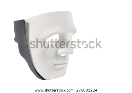 Black and white masks like human behavior isolate on white, conception
