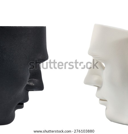 Black and white masks like human behavior isolate on white, conception - stock photo