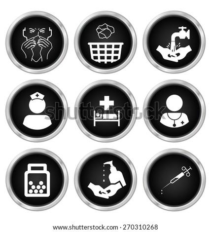 Black and white medical related icon set isolated on white background - stock photo