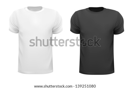 Black and white men polo shirts. Design template. Raster version of vector. - stock photo