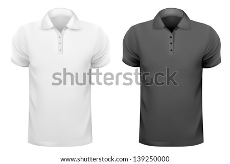Black and white men t-shirts. Design template. Raster version of vector. - stock photo
