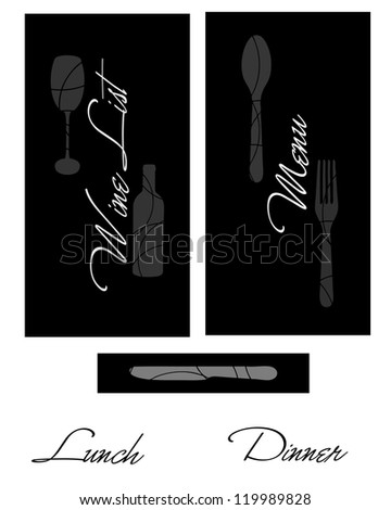 Black and white menu and wine list covers - stock photo