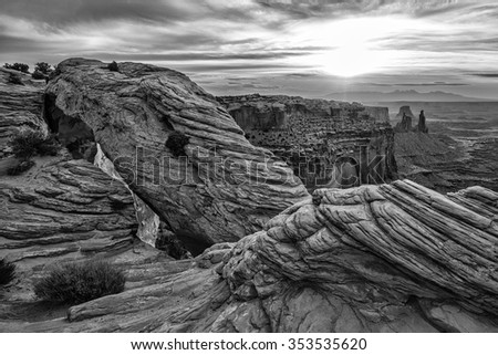 Black and White Mesa Arch in Canyonlands National Park near Moab, Utah - stock photo