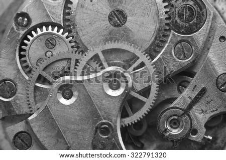 Black and white Metal Cogwheels in Oldest Rusty Clockwork, Macro. Concept Teamwork, Idea Technology - stock photo