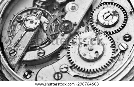 Black and White Metal Cogwheels Inside Oldest Clockwork. Conceptual photo for your successful business design. Macro - stock photo