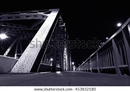 Black and white Metal structural of bridge