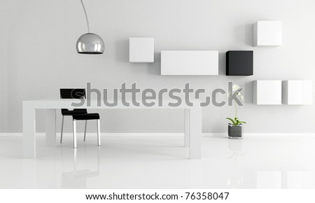 black and white minimalist dining room - stock photo