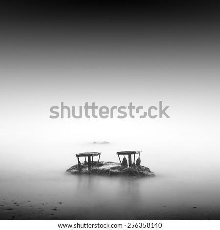 black and white minimalistic seascape / daytime long exposure / black sea, odessa, ukraine - stock photo