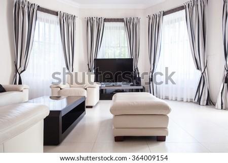 Black and white modern living room design - stock photo