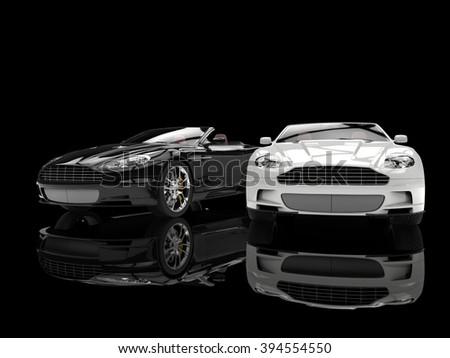 Black and white modern sports luxury cars - stock photo