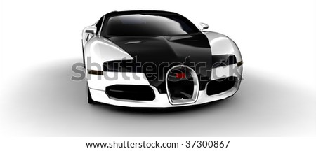 Black and white modern sportscar isolated on white - stock photo