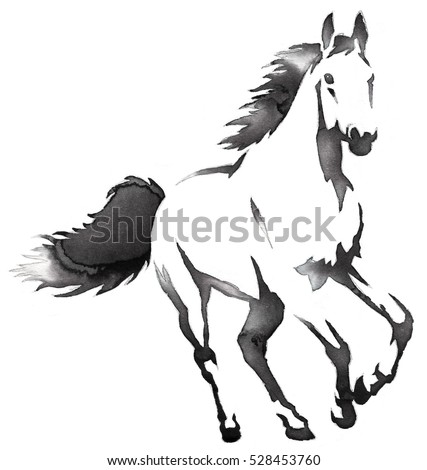 Black And White Monochrome Painting With Water Ink Draw Horse Illustration